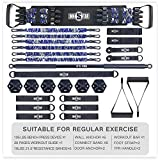 INNSTAR Garage Gym for Home Exercise, Home Fitness Full Body Workout Equipment Set with Workout Bar, Handles, Resistance Band for Family Use, Portable Bench Press Set with Workout Manual (Camo Blue)