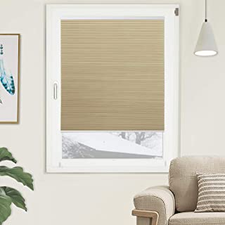 Grandekor Blackout Cellular Shades Single Cell Cordless Room Darkening Shade for Windows Bedroom, Thermal and Easy to Pull Down & Up, Cream White, Size: 24