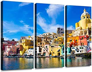 YKing1 Procida, Colorful Island in The Mediterranean Sea Coast, Naples, Italy Wall Art Painting Pictures Print On Canvas Stretched & Framed Artworks Modern Hanging Posters Home Decor 3PANEL