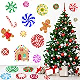 MISS FANTASY 59 PCS Christmas Peppermint Floor Decals Candyland Christmas Decorations Christmas Wall Stickers Christmas Decals for Wall Christmas Candy Stickers for Xmas Candyland Party Decorations
