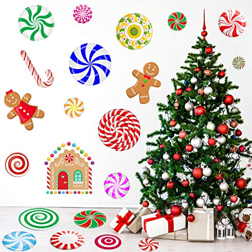 MISS FANTASY 59 PCS Christmas Peppermint Floor Decals Christmas Candy Stickers Wall Stickers Christmas Decals Xmas Floor Stickers for Christmas Party Decoration Christmas Candy Party Supplies
