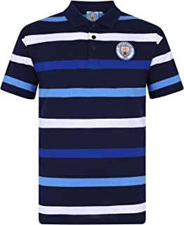 Manchester City Football Club Official Soccer Gift Mens Striped Polo Shirt