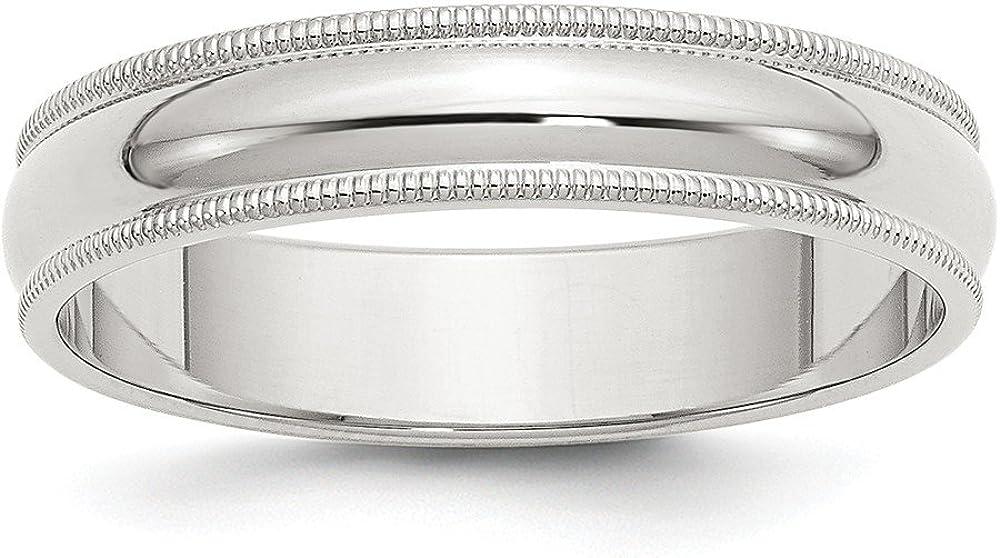 Solid 925 Sterling Silver 5mm Band Round [Alternative dealer] Wedding Ranking TOP7 Half Milgrain