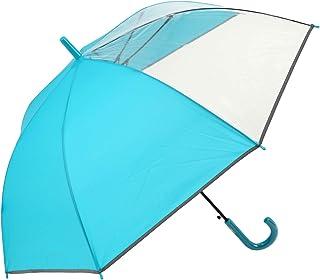安全 反射テープ付 身長160cm位までの方に最適 見通しの良いビニール2面窓付 グラス骨58cmジャンプ傘 (ターコイズ)