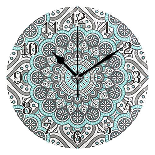 KKAYHA - Reloj de pared con diseño de mandala, estilo vintage, 25 cm, funciona con pilas, silencioso, no hace tictac, decorativo para dormitorio, hogar, sala de estar, puntero negro