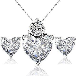 Haodou, 1 set di orecchini in cristallo con zirconi a forma di cuore, collana da ragazza, accessori regalo di Natale (arge...