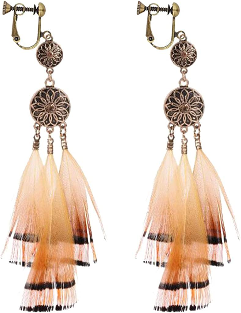 Dream Catcher Clip on Earrings for Women Feather Long Tassel Religious Lotus Dangle Drop Jewelry