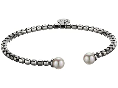 Majorica 7 mm Modern Metal Round Pearl Bangle (White) Bracelet