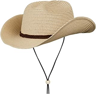 Straw Cowboy Hat,Summer Beach Panama Sun Hats Men & Women Western Wide Curved Brim Fedora with Adjustable Chin Strap UPF50+