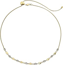 Michael Kors - Logo Love Heart and CZ Crystal Choker Necklace