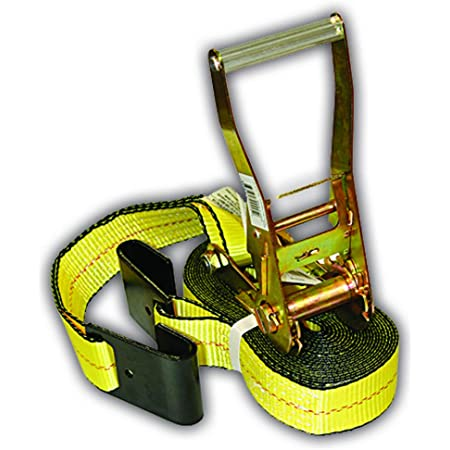 Everest - S1022 Premium Ratchet Tie Down 1 PK 2 IN. X 27 FT 3333 LBS. Working Load 10000 LBS. Break Strength Flat-Hook Cargo Straps Perfect for Moving Appliances, Lawn Equipment and Motorcycles, Vibrant Everest Yellow