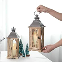 S.H. 2 Pack 15 x 5 x 5 Inches Wood Wooden Decorative Glass Candle Lantern Vintage Rustic Large Hanging Candle Holder for I...