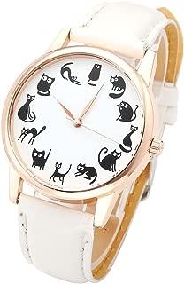 Top Plaza Fun Animal Series Twelve Cute Cats Scale Rose Golden Case PU Leather Strap Womens Girls Quartz Wrist Watch,White