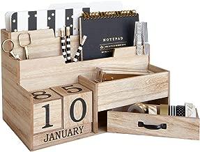 Wooden Mail Organizer Desktop with Block Calendar – Mail Sorter Countertop Organizer – Desk Decorations for Women Office