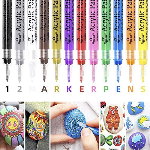 Acrylstifte Marker Stifte, KinCam 0,7mm Wasserfest Acrylfarben Marker Set für Keramik, Glas, Holz, Stoff, Leinwand, Tassen, Steine Scrapbooking Fotoalbum DIY-12 Farben