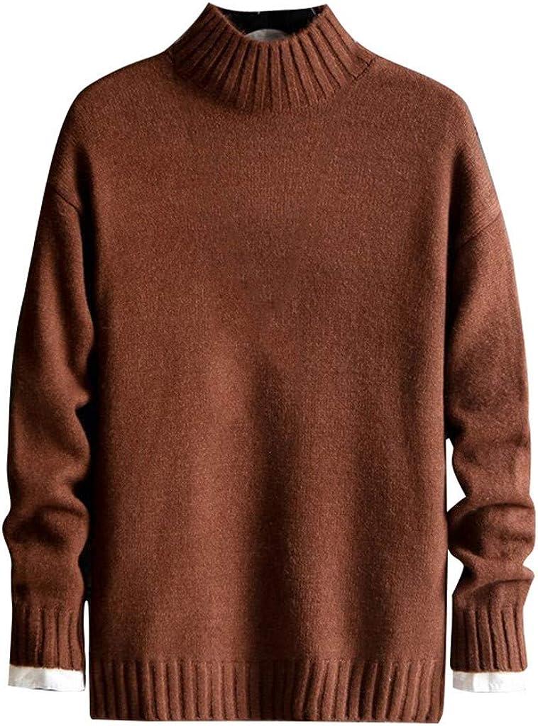 ESKNAS Men's Fashionable O-Neck Pure-Color Pullover Sweater Autumn and Winter