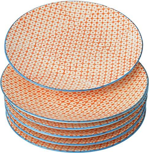 Petites assiettes à gâteau/dessert ornées de motifs - 180 mm - imprimé orange/bleu - lot de 6