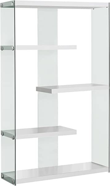 Monarch Specialties I I 3290 Tempered Glass Bookcase 60 Glossy White