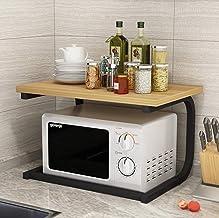Microondas digitales horno Horno microondas estantes Unidad de dos niveles Metal Madera del organizador del almacenaje de utensilios de cocina, toallas, Mits, y más de 25 kg de carga que lleven horno