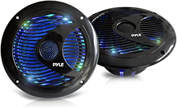 6.5'' Dual Marine Speakers - IP44 Waterproof and Weather Resistant Outdoor Audio Stereo Sound System with Built-in Led Lights, 150 Watt Power and Polypropylene Cone - 1 Pair - PLMR6LEB (Black)