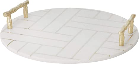 "Sagebrook Home 14821 Marble/Aluminum 16"" Tray, White, 16 x 2.5 x 16"