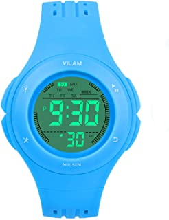 Kids Watch Sport Waterproof Multi Function Digital Wristwatch for Boy Girl Children Gift Outdoor Kids Digital Sport Watch with 7 Colorful LED Lights and Detachable Watchband