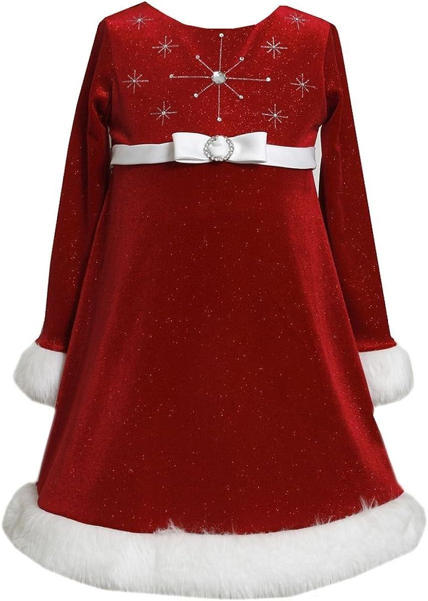 Atlanta Mall Bonnie Jean Girls Red Sparkle Faux Fur Dres Bargain Glitter Santa Bodice