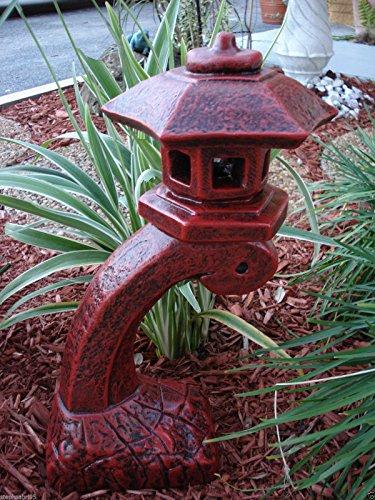 Concrete Statue Red Pagoda Bow Lantern Oriental Lantern Japanese Decor Art Home Garden 17.5''HT