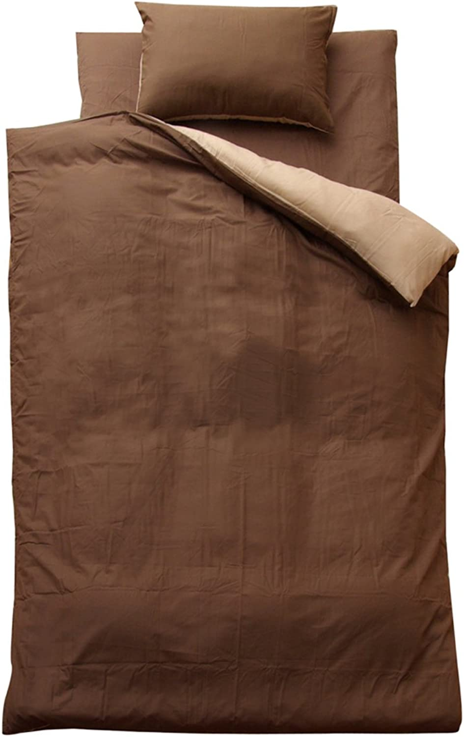 Kamiyuto Ice HiCo Duvet Cover Three Sets Solid color Reversible Riva S Cover Three Points It's Dark Brown Dark Beige Single Long