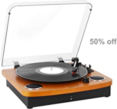 Vinyl Record Player Vintage Wood Pareiko 3-Speed BT Turntable with Speakers USB Output to Convert Vinyl Records to Digital Files and Standard RCA & Headphone Outputs
