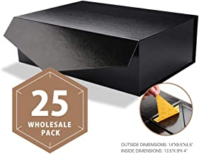 PACKHOME Wholesale Large Gift Boxes Rectangular 14x9.5x4.5 Inches Bridesmaid Proposal Boxes, Sturdy Storage Boxes, Collapsible Gift Boxes with Magnetic Closure (Glossy Black, 25 Boxes)