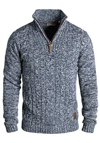 !Solid Pankraz Herren Winter Pullover Strickpullover Troyer Grobstrick mit Zopfstrickmuster und Reißverschluss, Größe:S, Farbe:Insignia Blue (1991)