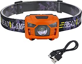 Hoofdfakkel LED Koplamp Bewegingssensor Koplamp USB Oplaadbare Hoofd Torch Lamp Vissen Wandelen Wit/Rood Licht 1200 MAH Ba...