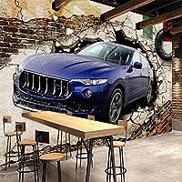 カスタム写真の壁紙3Dステレオ車の壊れた壁壁画レトロ人格レストランKTVアート背景壁3D, 400cm×280cm
