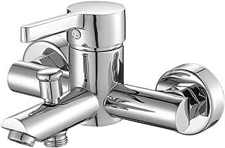 Lvsede Grifo De Baño Barato Grifo De Baño Rústico Anticongelante Grifo De La Bañera De Cobre Triple Ducha De Baño Caliente Y Fría Válvula Mezcladora Control De Temperatura L6641