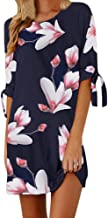 Fashion Casual Party Dress, Womens Floral Print Bowknot Sleeves Cocktail Mini Dress