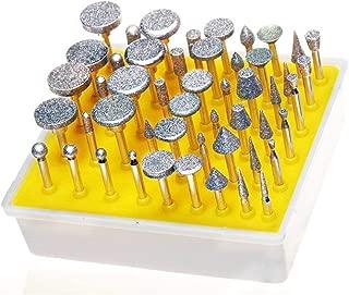 Lukcase 50pcs Diamond Coated Grinding Head Grinding Burrs Set for Dremel Rotary Tool …