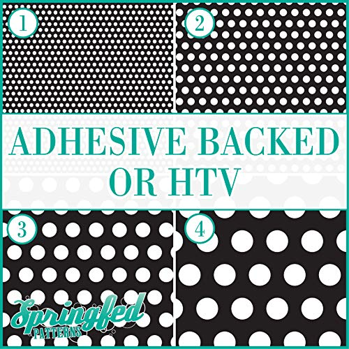 Black & White POLKA DOTS PATTERN #5 Basic Colors Heat Transfer or Adhesive Vinyl CHOOSE YOUR MATERIAL and POLKA DOT SIZE!
