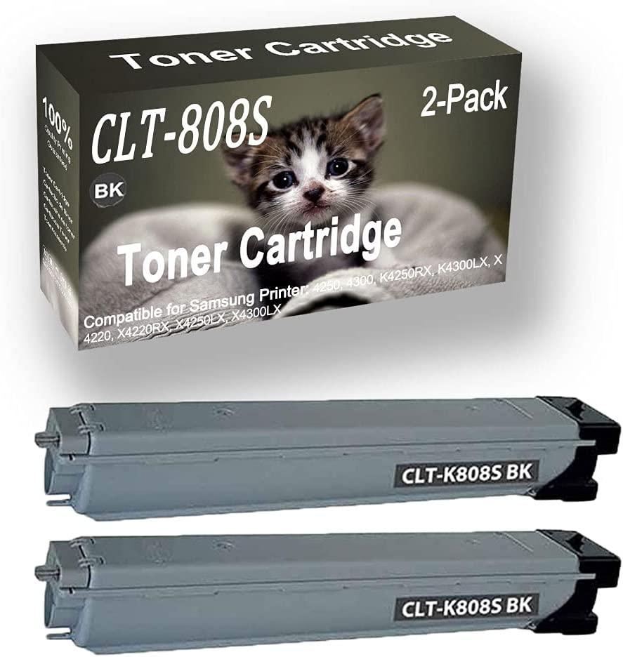 2-Pack (Black) Compatible 4250, 4300, K4250RX, K4300LX, X4220, Laser Printer Toner Cartridge (High Capacity) Replacement for Samsung CLT808S (CLT-808S) Printer Toner Cartridge