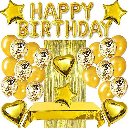 TOCYORIC Globos Cumpleaños Decoracione, Feliz Decoración Fiesta Cumpleaños Oro, Globos de Látex Impresos, Globo para Decoración de Fiesta Manteles