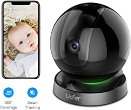 Ucfer 1080P WiFi Smart Home Security Camera, Baby Monitor, Pet Camera, H.265 Wireless Indoor Camera with Night Vision, Two-Way Audio, Cloud Storage, Compatible with Alexa