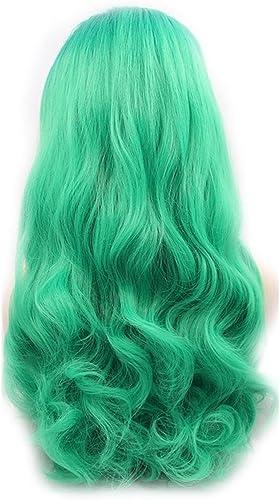 AN-LKYIQI Perücke Europa und Amerika realistische Frau Cosplay Grün Grün Wellen vor der Spitze chemische Faser Hochtemperatur Silk Perücke