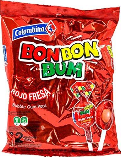 Colombina Bon Bon Bum Strawberry Bubble Gum Lollipops, Pack of 24 Bubble Gum Pops