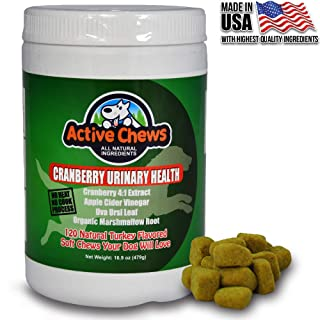Active Chews Cranberry Chews for Dog UTI Treatment, Relieves Dog Incontinence and Provides Bladder and Kidney Support for Dogs, 120 Chews