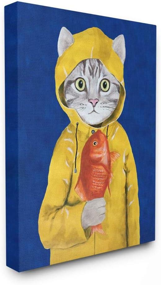 Stupell Industries New Orleans Mall Fisherman Feline Yellow Cat St Inexpensive Oversized Coat