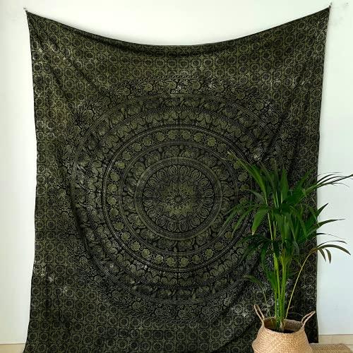 MOMOMUS Tapiz Mandala - 100% Algodón, Grande, Multiuso - Plaid/Foulard/Tela/Colcha Ideal como Cubre Sofá/Cama - Verde, 210x230 cm