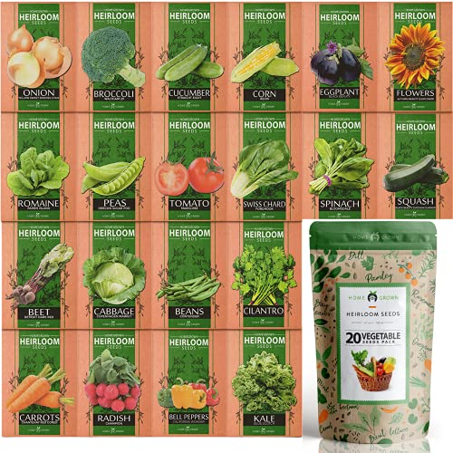 20 Heirloom Vegetable Seeds - Survival Bugout Seeds and Essential Emergency Prepper Gear - Non GMO...