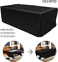 GEMITTO 9ft Pool Table Cover, Heavy Duty Waterproof Billiard Cover Polyester Fabric for Snooker Billiard Table (113x61x32in)