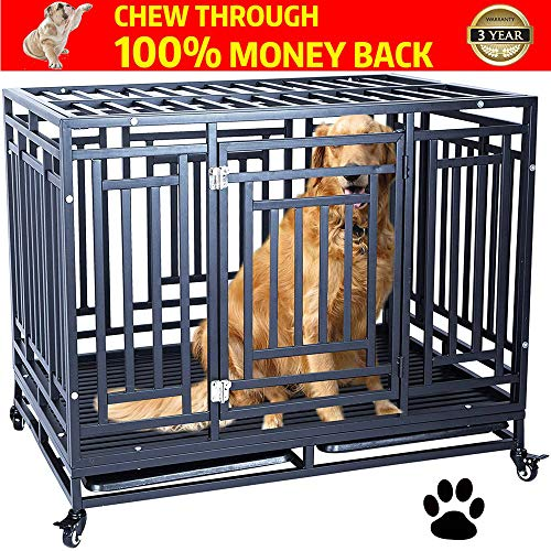 HAIGE PET Your Pet Nanny Heavy Duty Dog Crate Cage Kennel Playpen Metal Strong for Medium and Large Dogs Outdoor Waterproof with Lockable Wheels, Easy to Assemble, 41''/ Black