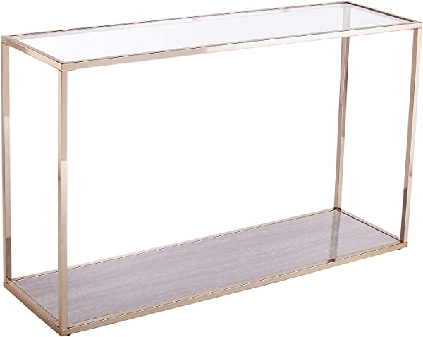 Gold Table Metal Frame W Faux Marble Bottom Shelf Space Saving Design Console Table
